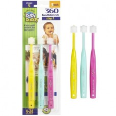 Baby Buddy Brilliant. Baby Toothbrush for Babies and Infants 4-24 months - Pink-Mint-Yellow