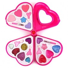 Fashion Girl Heart Mirror Case Pretend Play Toy Make Up Case Kit, Safe, Non-Toxic, Washable, Formulated for Children