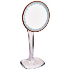 Jerdon JS725RL 7.25-Inch LED Lighted Single-Sided Vanity Mirror with 5X Magnification, Clear/Rose Gold