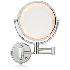 Jerdon HL75C 8.5-Inch Lighted Wall Mount Makeup Mirror with 8x Magnification, Chrome Finish