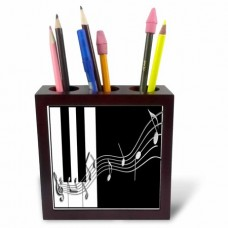 3dRose Silver Music Notes on Piano Keys, Tile Pen Holder, 5-inch