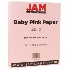 JAM Paper Matte Paper, 8.5 x 11, 28 lb Baby Pink, 500 Sheets/Ream