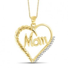 JewelersClub White Diamond Accent 14k Gold Over Silver Mom Heart Pendant