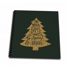 3dRose Green and Gold Christmas Tree Ornament Saying-Days Merry and Bright - Drawing Book, 8 by 8-inch