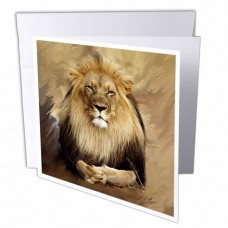 3dRose Lion, Greeting Cards, 6 x 6 inches, set of 6