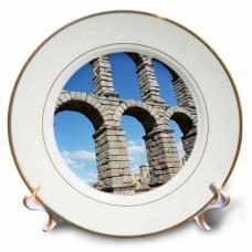 3dRose Aqueduct of Segovia, Famous Roman Aqueduct Segovia, Spain, Porcelain Plate, 8-inch