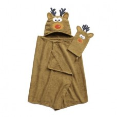 Tub Time Tots Reindeer Hooded Kids Bath Wrap with Mitt - 2 Piece Set
