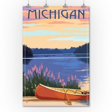 Michigan - Canoe & Lake - Lantern Press Artwork (36x54 Giclee Gallery Print, Wall Decor Travel Poster)