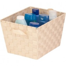 Honey Can Do Medium Woven Tote Bin with Straps, Creme
