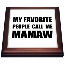 3dRose My Favorite People Call Me Mamaw - fun black text design for grandma - Trivet with Ceramic Tile, 8 by 8-inch