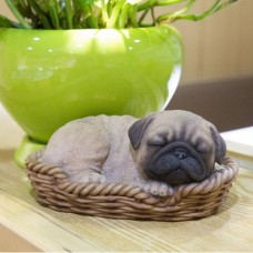 WICKER BASKET PUG STATUE