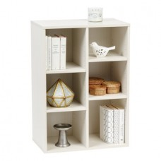 IRIS 6 Cube Wood Shelf, Off White, Collan Series