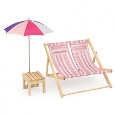 Badger Basket Double Doll Beach Chair with Table and Umbrella - Summer Stripes - Fits American Girl, My Life As & Most 18 Dolls