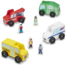 Melissa and Doug Community Vehicles Play Set with 4 Vehicles and 4 Play Figures