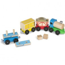 Melissa and Doug Cargo Train Classic Wooden Toy with 4 Linking cars, approx. 5 inches long each)