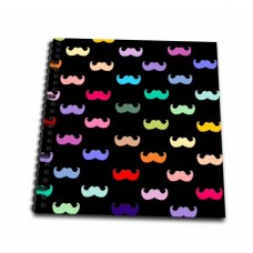 3dRose Colorful Rainbow Mustache Pattern on Black aka multicolored multicolor ironic hipster mustaches - Mini Notepad, 4 by 4-inch
