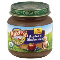 Earth's Best Organic Baby Food Apples & Blueberries Baby Food 2 6 Months+, 4 oz, 6 Pack