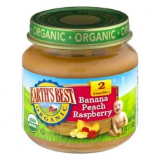 Earth's Best Organic Baby Food Banana Peach Raspberry Stage 2, 4.0 OZ, 12 Pack