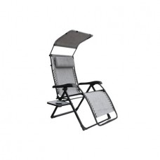 Mainstays Extra Large Zero Gravity Chair with Side Table and Canopy, Gray