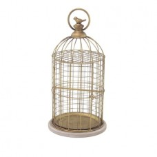 Decmode Traditional Iron and Wood Gold-Finished Birdcage, Gold