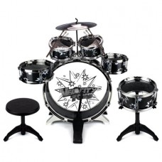 Toy Drum Set for Children 11 Piece Kid's Musical Instrument Drum Playset w/ 6 Drums, Cymbal, Chair, Kick Pedal, Drumsticks
