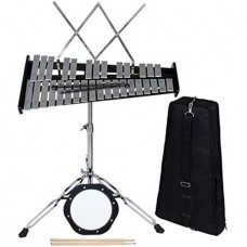 CALHOME 32 Notes Percussion Glockenspiel Bell Kit with Practice Pad+Mallets+Sticks+Stand