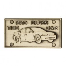 Quality American Made Antiqued Gold God Bless This Car 1 1/4 x 2 1/2 Inches Saint Medal Pendant Auto Car Clip Protection Visor Clip